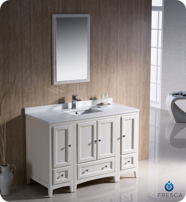 Fresca Fvn20 122412aw Oxford 48 Inch Antique White Traditional Bathroom Vanity With 2 Side Cabinets