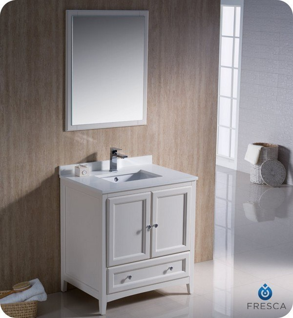 FRESCA FVN2030AW OXFORD 30 INCH ANTIQUE WHITE TRADITIONAL BATHROOM VANITY