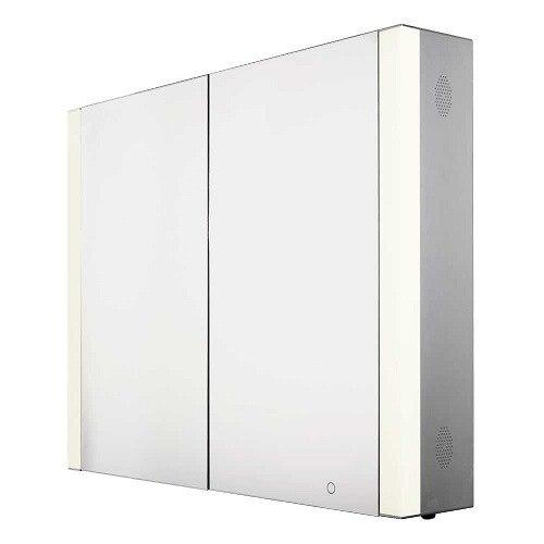 WHITEHAUS WHFEL7089-S MUSICHAUS 35 INCH DOUBLE DOOR ANODIZED ALUMINUM CABINET