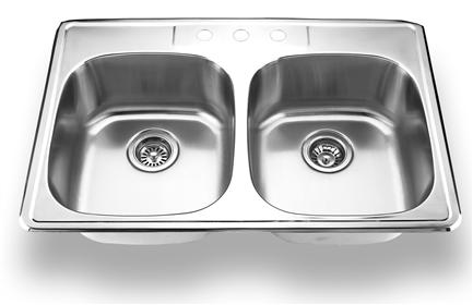 Yosemite Home Décor MAG3322C 33 Inch Top Mount Double Bowl Kitchen Sink