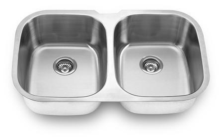 Yosemite Home Décor MAG504 34 Inch Undermount Double Bowl Kitchen Sink - All Satin