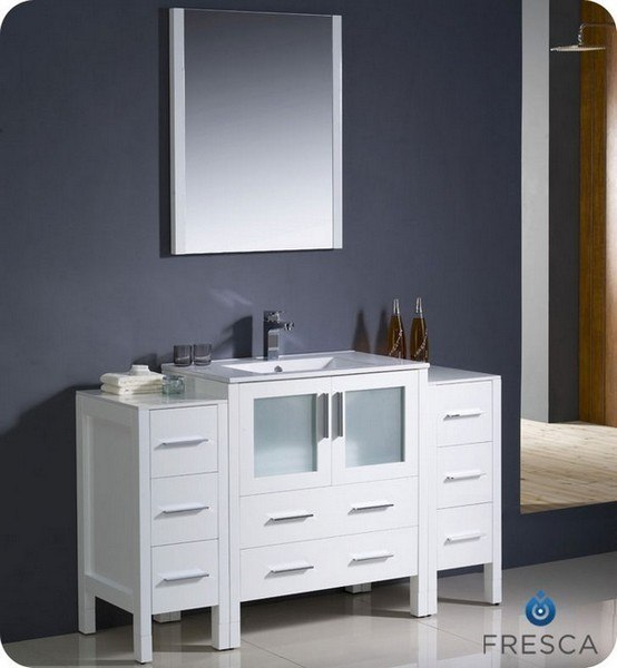 FRESCA FVN62-123012WH-UNS TORINO 54 INCH WHITE MODERN BATHROOM VANITY WITH 2 SIDE CABINETS AND UNDERMOUNT SINK