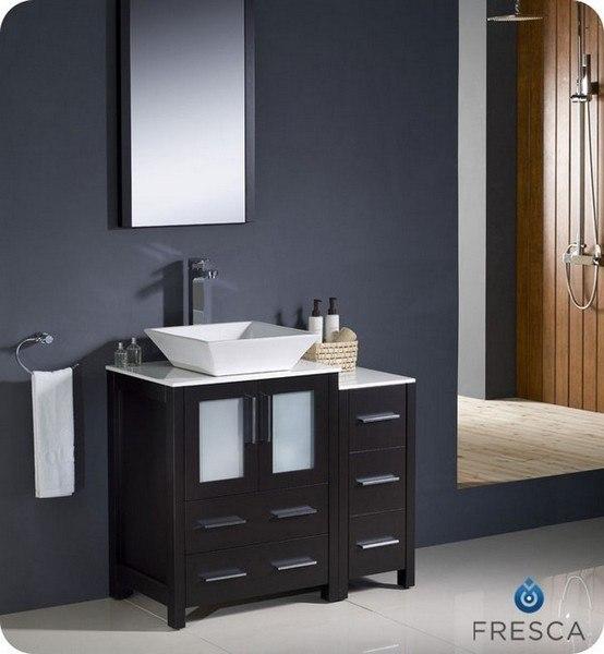 Fvn62 2412es Vsl Torino 36 Inch Espresso Modern Bathroom Vanity W Side Cabinet Vessel Sink Fvn62 2412es Vsl