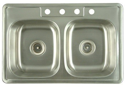 Kingston Brass K33228DBN Gourmetier Carefree Stainless Steel Double Bowl Self-rimming Kitchen Sink, Brushed Nickel