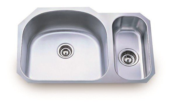 Lada LD2132-R 31-3/8 Inch Undermount 80/20 Double D-Shaped Bowl Stainless Steel Sink