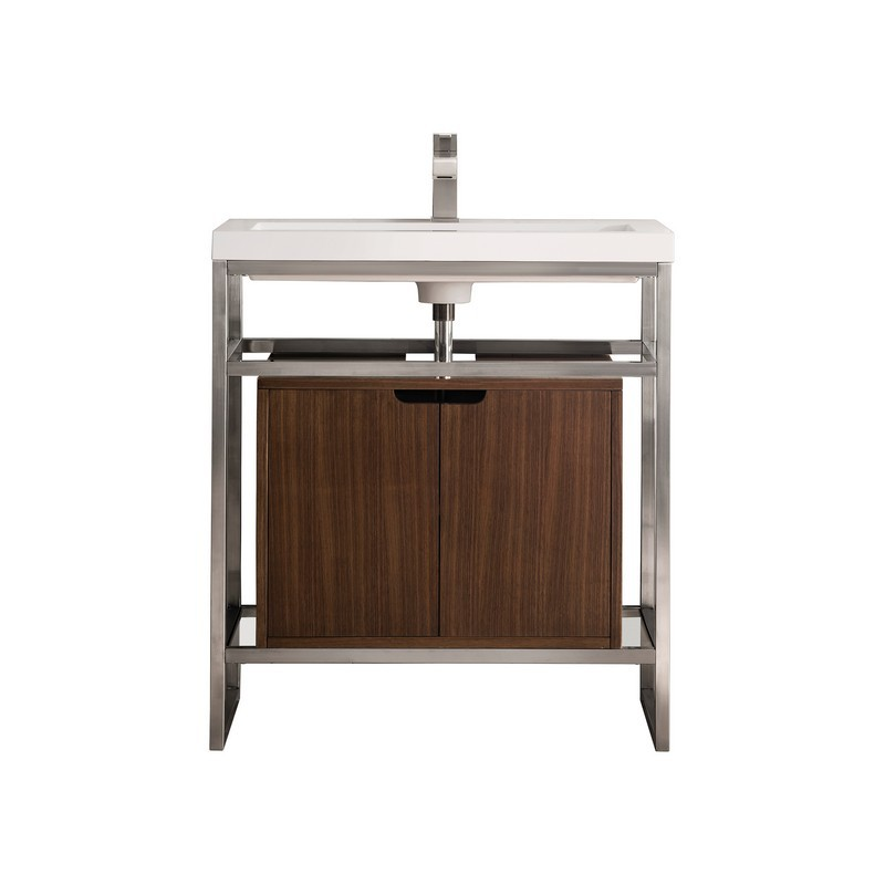 JAMES MARTIN C105-V31.5-BNK-SC-WLT-WG BOSTON 31.5 INCH STAINLESS STEEL SINK CONSOLE IN BRUSHED NICKEL WITH MID CENTURY WALNUT STORAGE CABINET AND WHITE GLOSSY RESIN COUNTERTOP