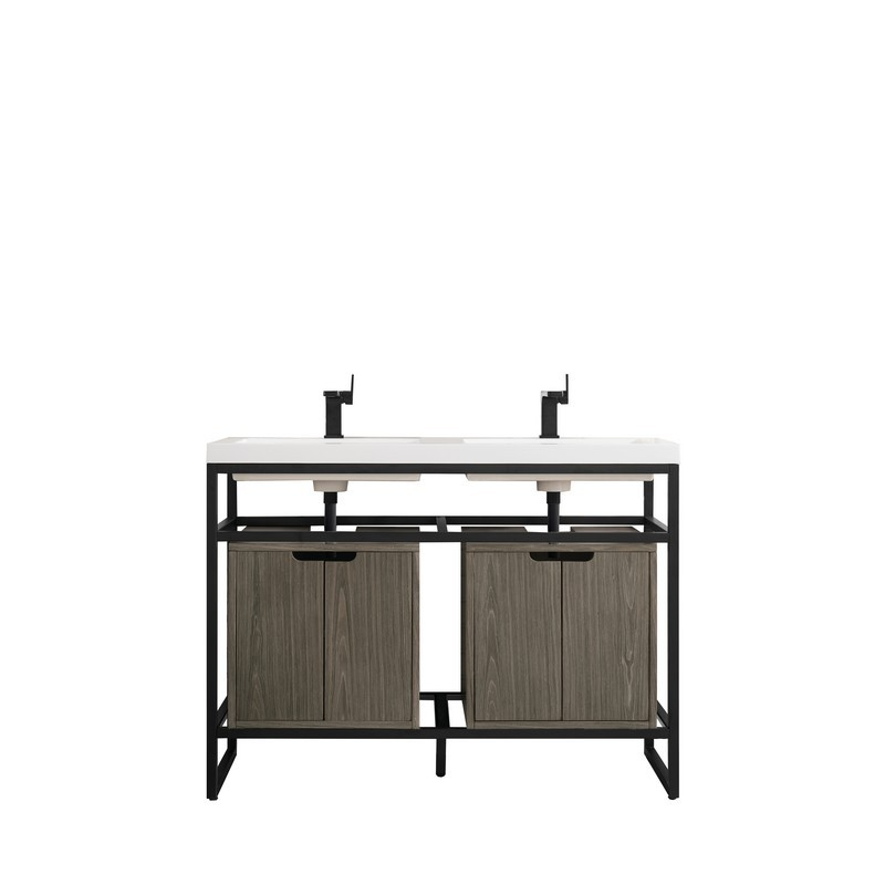 JAMES MARTIN C105-V47-MBK-SC-AGR-WG BOSTON 47 INCH STAINLESS STEEL SINK CONSOLE (DOUBLE BASINS) IN MATTE BLACK WITH ASH GRAY STORAGE CABINET AND WHITE GLOSSY RESIN COUNTERTOP