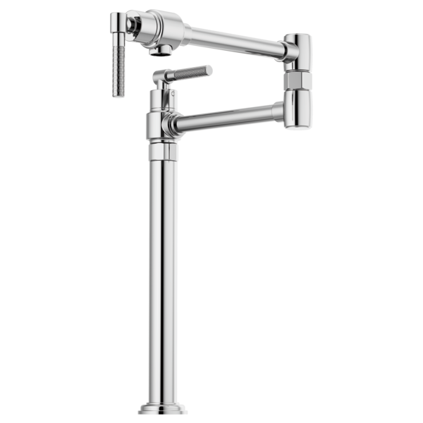 BRIZO 62743LF LITZE 14 1/8 INCH DOUBLE HANDLE DECK MOUNTED POT FILLER KITCHEN FAUCET WITH KNURLED HANDLE