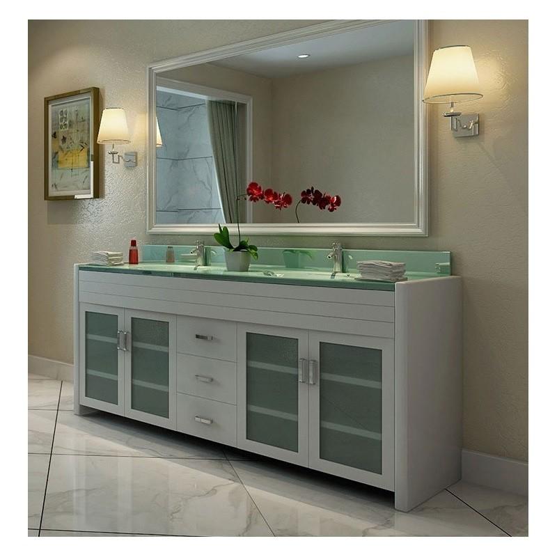 DESIGN ELEMENT DEC016B-W WATERFALL 72 INCH DOUBLE SINK VANITY IN WHITE