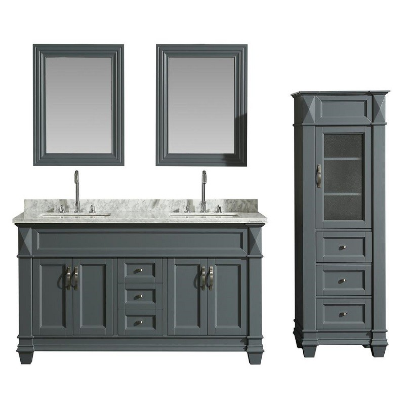 DESIGN ELEMENT DEC059C-G-WT_CAB059-G HUDSON 60 INCH SINGLE SINK VANITY SET  IN GREY WITH CARRARA MARBLE TOP AND 65...