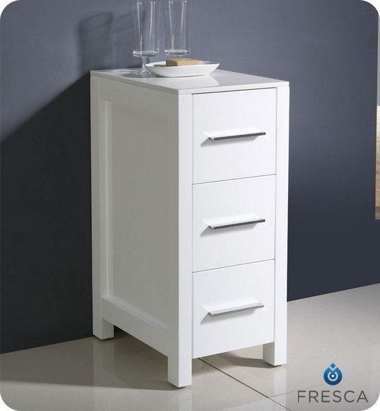 FRESCA FST6212WH TORINO 12 INCH WHITE BATHROOM LINEN SIDE CABINET