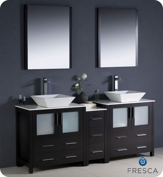 Fvn62 301230es Vsl Torino 72 Inch Espresso Modern Double Sink Bathroom Vanity W Side Cabinet Vessel Sinks