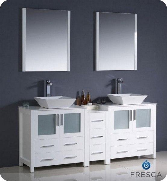 Fvn62 301230wh Vsl Torino 72 Inch White Modern Double Sink Bathroom Vanity W Side Cabinet Vessel Sinks