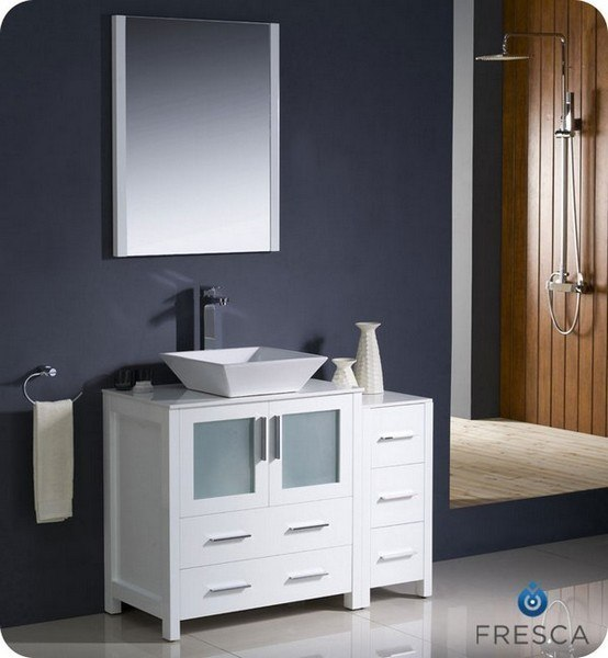 42 Inch White Modern Bathroom Vanity