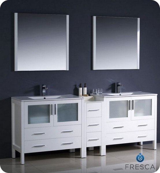 FRESCA FVN62-361236WH-UNS TORINO 83.5 INCH WHITE MODERN DOUBLE SINK BATHROOM VANITY WITH SIDE CABINET AND UNDERMOUNT SINKS