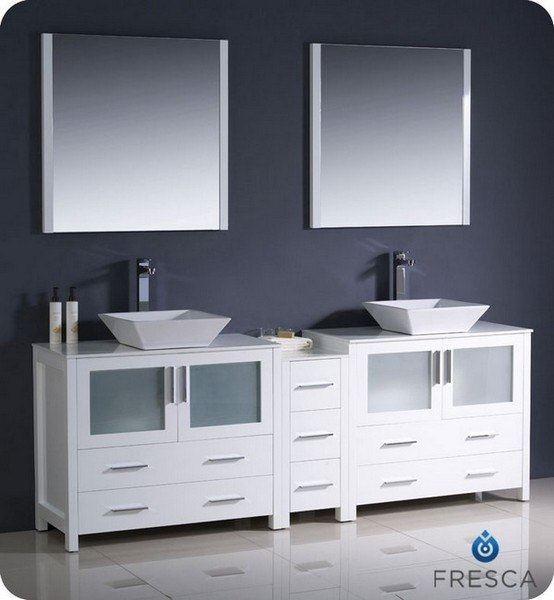 FRESCA FVN62-361236WH-VSL TORINO 83.5 INCH WHITE MODERN DOUBLE SINK BATHROOM VANITY WITH SIDE CABINET AND VESSEL SINKS