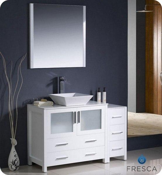 FRESCA FVN62-3612WH-VSL TORINO 47.5 INCH WHITE MODERN BATHROOM VANITY WITH SIDE CABINET AND VESSEL SINK