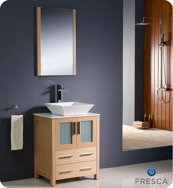 Fvn6224lo Vsl Torino 24 Inch Light Oak Modern Bathroom Vanity W Vessel Sink Fvn6224lo Vsl Fst6260lo Torino 24 Inch
