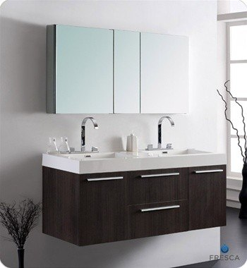 Gray Oak Modern Double Sink Bathroom