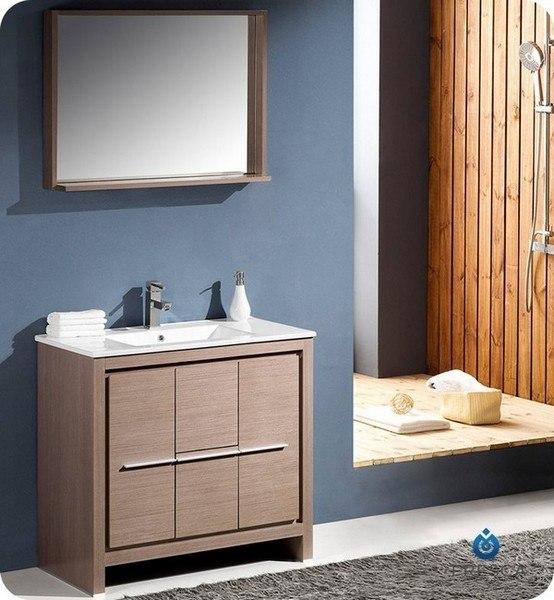 Gray Oak Modern Bathroom Vanity