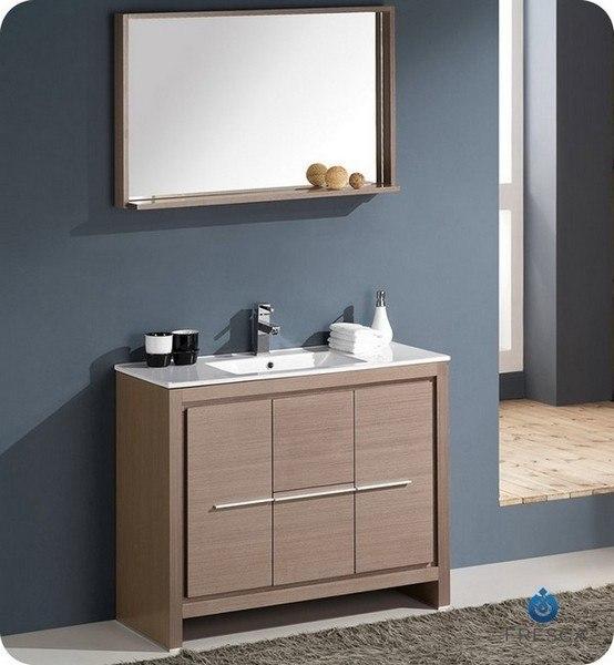 FRESCA FVN8140GO ALLIER 39.38 INCH GRAY OAK MODERN BATHROOM VANITY WITH MIRROR