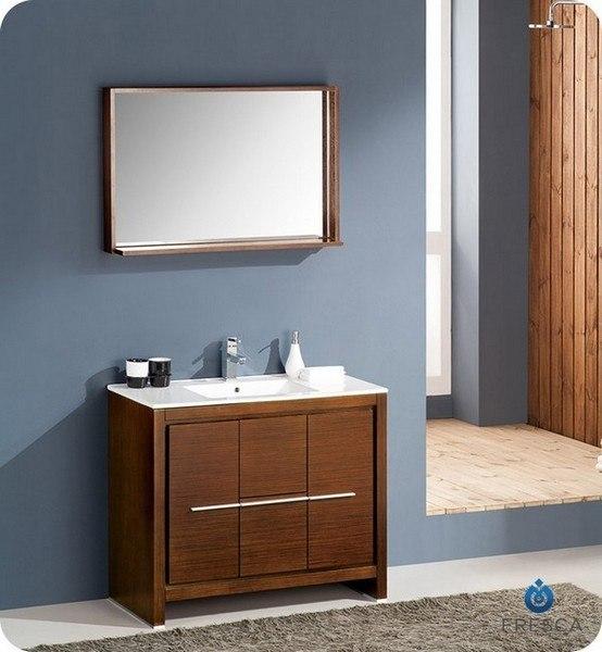 FRESCA FVN8140WG ALLIER 39.38 INCH WENGE BROWN MODERN BATHROOM VANITY WITH MIRROR