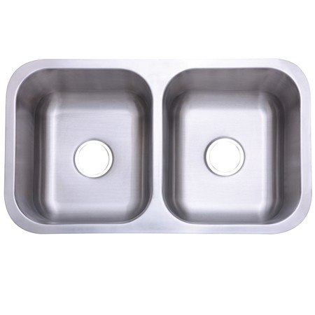 Kingston Brass KU32188DBN Gourmetier Marina Stainless Steel Double Bowl Undermount Kitchen Sink, Brushed
