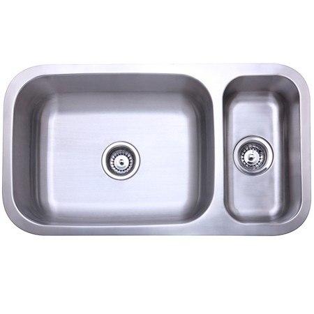 Kingston Brass KU321897DBN Gourmetier Cambridge Stainless Steel Double Bowl Undermount Kitchen Sink, Brushed Nickel