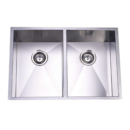 Kingston Brass KUS292010DBN Gourmetier Towne Square Stainless Steel Double Bowl Undermount Kitchen Sink, Brushed Nickel