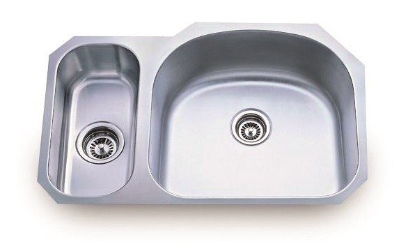 Lada LD2132-L 31-3/8 Inch Undermount 80/20 Double D-Shaped Bowl Stainless Steel Sink