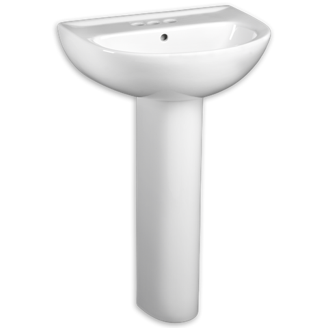 AMERICAN STANDARD 0468.400 EVOLUTION 24 INCH VITREOUS CHINA LAVATORY AND PEDESTAL, FAUCET HOLES ON 4 INCH CENTERS