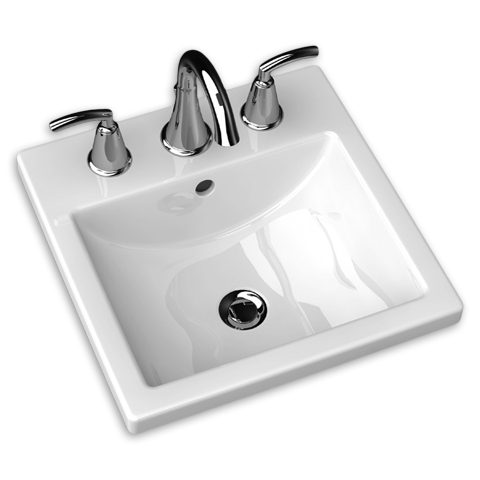 American Standard 0642.008.020 Studio Carré 12-1/2 Inch Porcelain Square Self-Rimming Countertop Sink in White, 8 Inch Center to Center