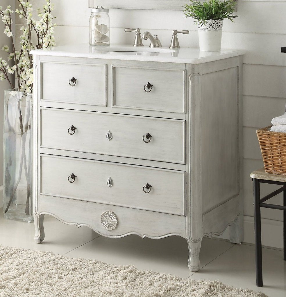 Chans Furniture Hf081ck Daleville 34 Inch Distressed Grey Bathroom Sink Vanity
