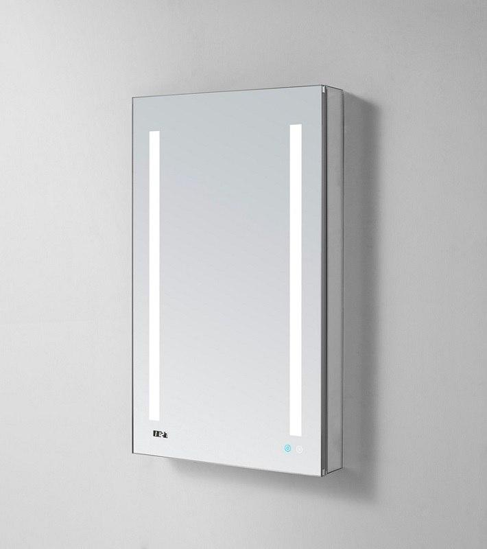 AQUADOM SR-2430R SIGNATURE ROYALE 24X30 RIGHT HINGE LED LIGHTED MIRROR GLASS MEDICINE CABINET FOR BATHROOM, 3D COLOR TEMPERATURE LIGHTS, CLOCK, DEFOGGER, DIMMER