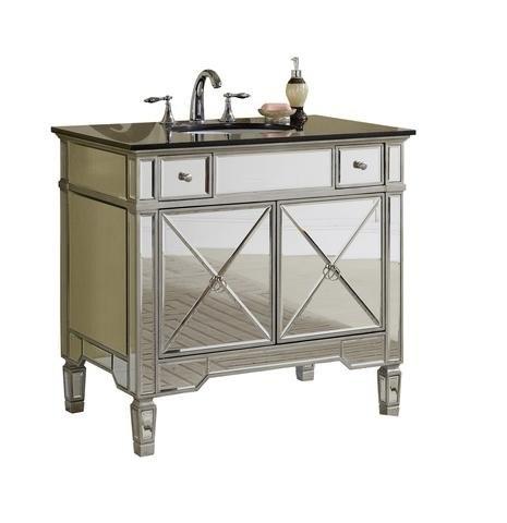 Chans Furniture YR 023G 36 Ashlyn 36 Inch Silver Mirrored Bathroom Sink  Vanity,