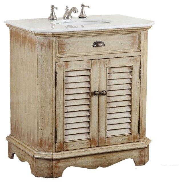 Chans Furniture Cf 47524 Fairfield 32 Inch Light Distressed Beige Bathroom Sink Vanity
