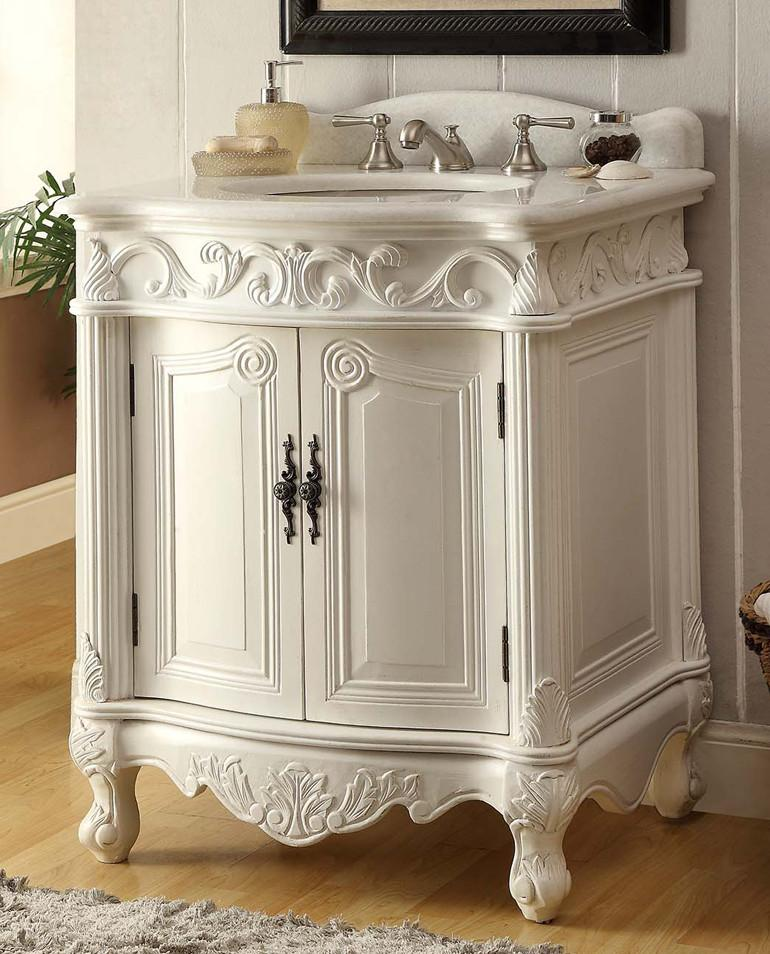 Chans Furniture Bc 2917w Aw 27 27 Inch Hayman Victorian Bathroom Vanity In White