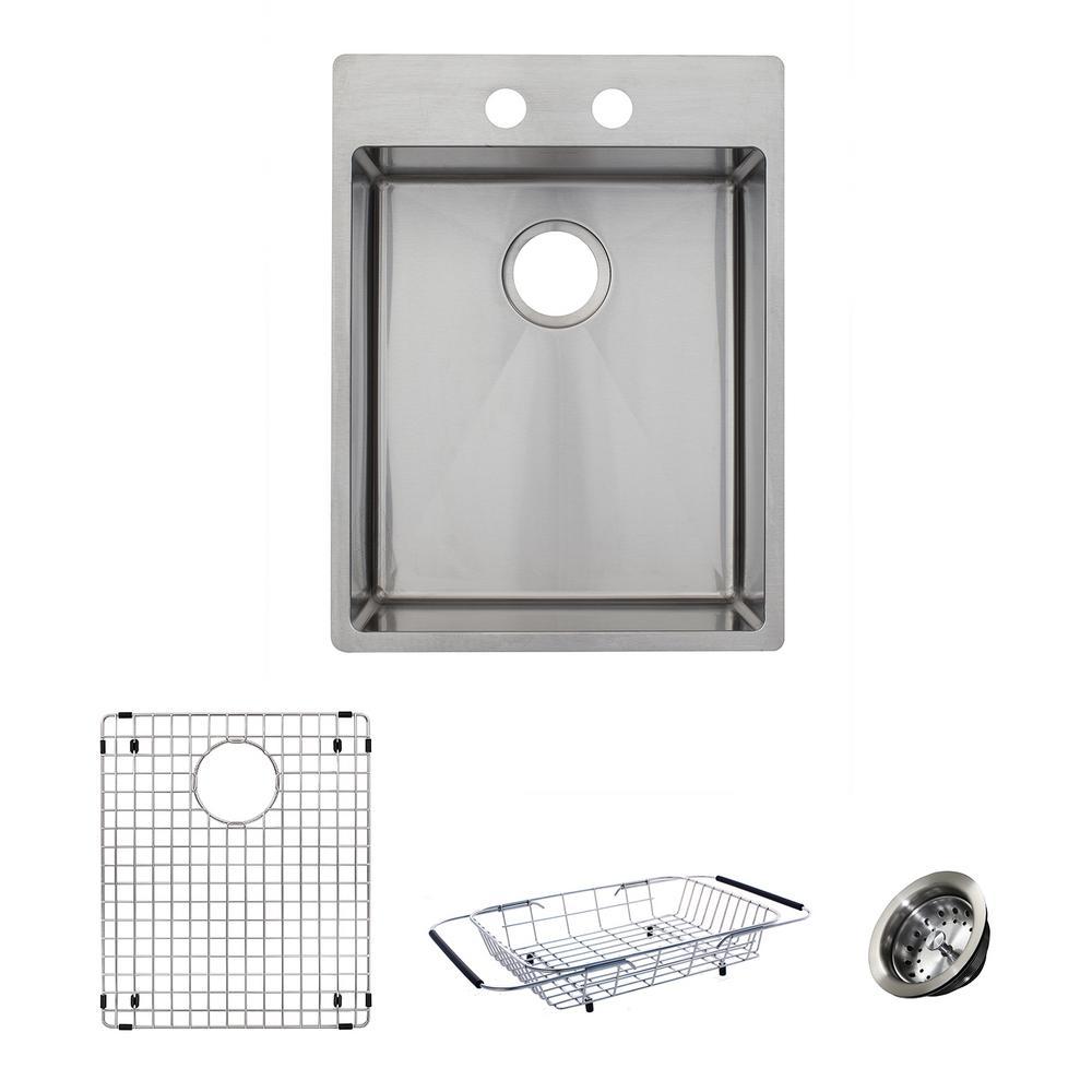 Franke HTS1722-1KIT Vector 17 Inch Dual Mount Single Bowl Polished Satin Kitchen Sink Kit