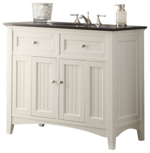 Chans Furniture CF-47532GT Thomasville 42 Inch White Bathroom Sink Vanity, Black Granite