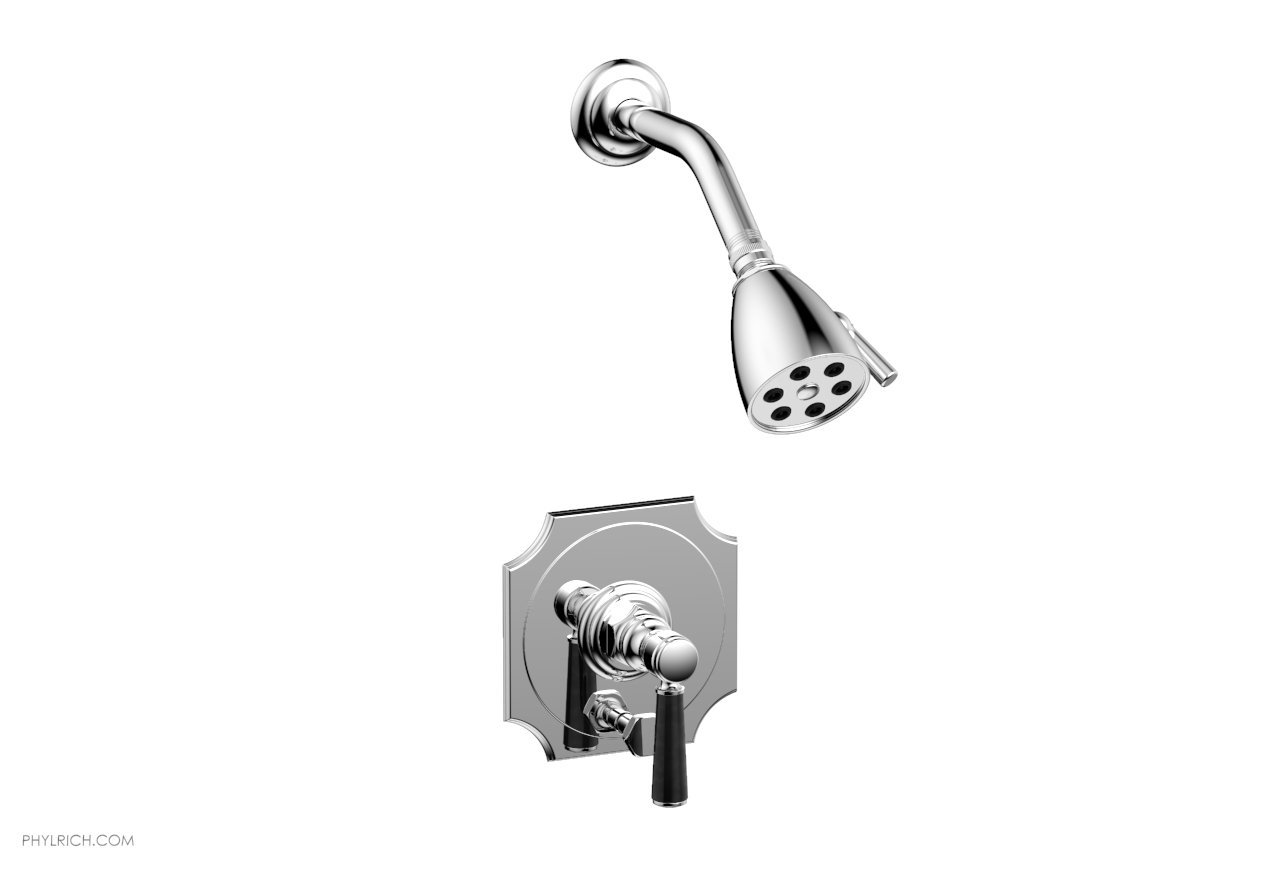 PHYLRICH 4-163-032 HENRI WALL MOUNT PRESSURE BALANCE SHOWER AND DIVERTER SET WITH SOAP STONE LEVER HANDLE