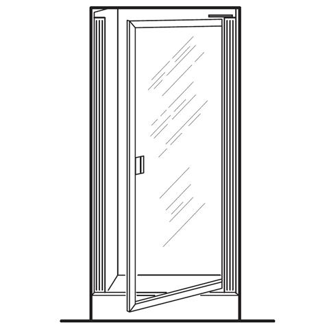 AMERICAN STANDARD AM00801.400 CLEAR GLASS PRESTIGE FRAMED PIVOT SHOWER DOORS FITS 24-1/4 TO 26 INCH WIDTH OPENINGS