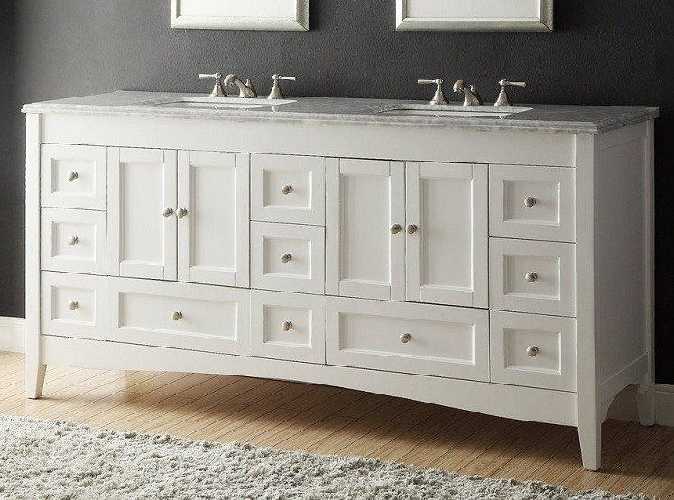 Chans Furniture Zk 1086 Kenly 72 Inch White Bathroom Double Sink