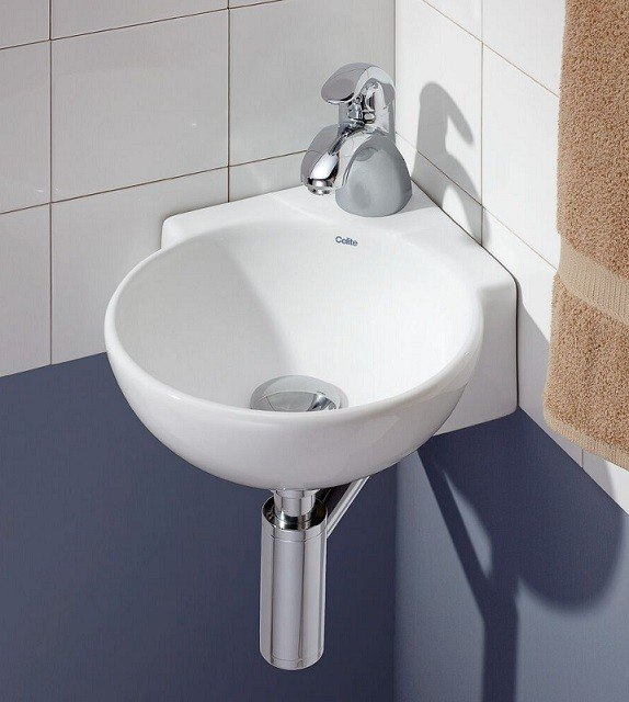 Cheviot 1349-WH-1 12-3/4 Inch Corner Wall-Mount/Vessel Sink in White