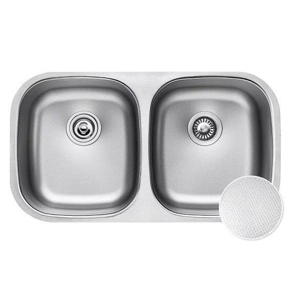 Kraus KBU22E Outlast MicroShield 32 Inch Undermount Double Bowl 16 Gauge Stainless Steel Sink