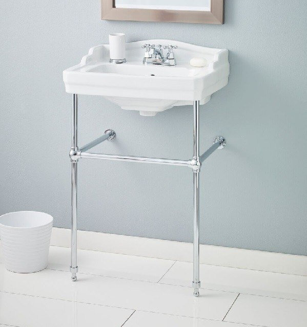Cheviot 553-WH-8/575 24 Inch Essex Console Lavatory in White with 3 Faucet Holes