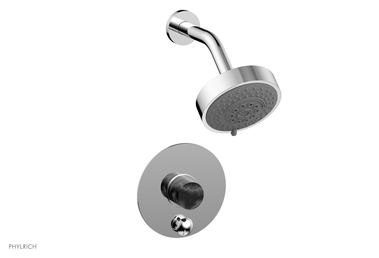 PHYLRICH 4-190-032 BASIC II WALL MOUNT PRESSURE BALANCE SHOWER AND DIVERTER SET WITH SOAP STONE LEVER HANDLE