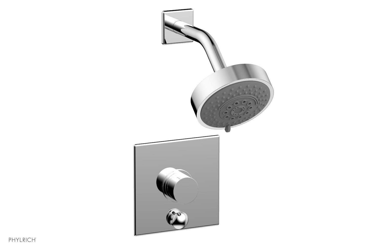 PHYLRICH 4-193 BASIC II WALL MOUNT PRESSURE BALANCE SHOWER AND DIVERTER SET WITH SMOOTH HANDLE