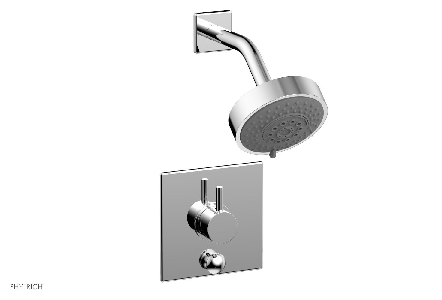PHYLRICH 4-195 BASIC II WALL MOUNT PRESSURE BALANCE SHOWER AND DIVERTER SET WITH LEVER HANDLE