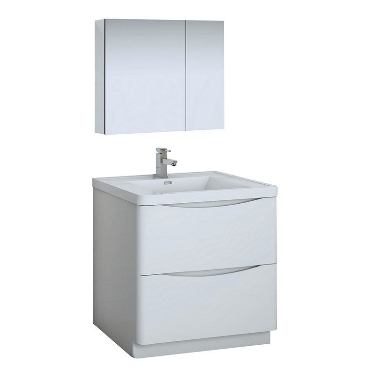 FRESCA FVN9132WH TUSCANY 32 INCH GLOSSY WHITE FREE STANDING MODERN BATHROOM VANITY WITH MEDICINE CABINET