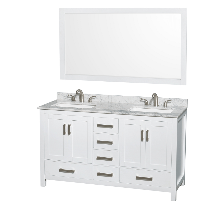 Wyndham Collection Wcs141460dwhcmus3m58 Sheffield 60 Inch Double Bathroom Vanity Set In White With Sinks And 58 Inch
